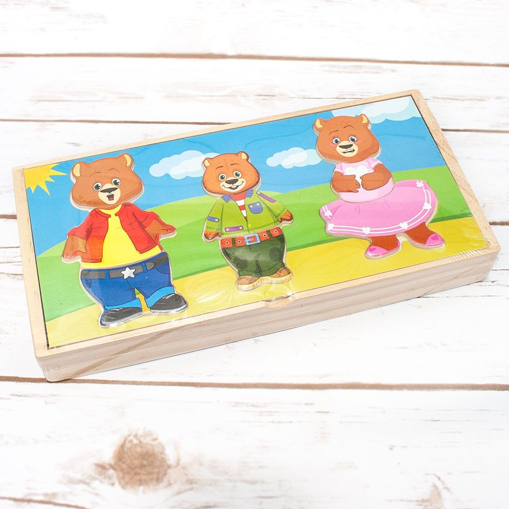Wooden Three Bears Dress-Up Puzzle